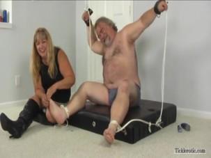 stupid old fat men tickle feet..