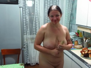 mature aunt in the kitchen