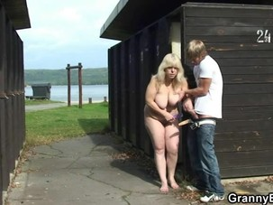 Blonde granny fucked from..