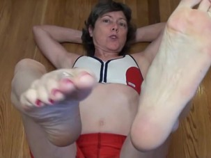 Granny in Hot Red Spandex-..