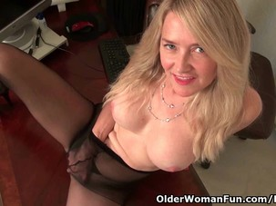 Office milf Eva gives her..